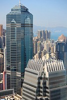 China, Hong Kong, Central district, skyline, skyscrapers, aerial view,.