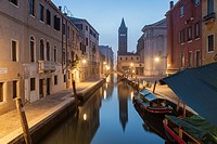 Misty dawn in the sestier of Dorsoduro, Venice, Italy.