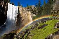 Vernal Fall and hikers on the Mist Trail, Yosemite National Park, California USA.