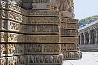 Shrine wall relief sculpture follows a stellate plan in the Chennakesava Temple, Hoysala Architecture, Somanathpur, Karnataka, India.