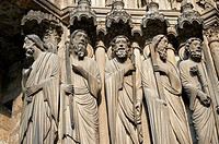 South Porch left jam. Cathedral of Chartres, France. Gothic statue of from left to right, they are Matthew , Thomas, Philip (with sword), Andrew (with...
