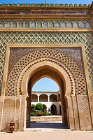 Zellij mosaics and arabesque Moorish plasterwork of the Bab Mansour gate. Named after the architect, El-Mansour, completed in 1732 the design of the g...