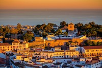 White village of Mijas at sunset. Malaga province Costa del Sol. Andalusia Southern Spain, Europe.