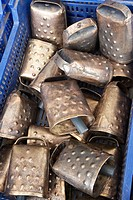 Cowbells for cattle at a local flea market, Biescas, Pyrenees, Huesca, Spain.
