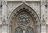 Budapest, Hungary, Buda Castle, Matthias church door ornament.