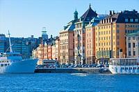 Sweden, Stockholm, Boats Moored alongside The Old Town.