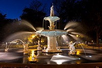 Savannah, Georgia. Forsyth Park Fountain at Night.