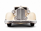 1935 Packard Twelve coupe roadster classic vintage luxury car front view isolated on white background with clipping path.