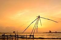 Chinese fishing nets in Fort Kochi, Kerala, India.