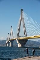 The Rio - Antirrio bridge, near Patras, linking the Peloponnese with mainland Greece accross the Gulf of Korinth.