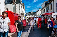 People walking through market stalls in a crowded street. Carnac, Brittany, France.