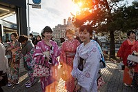 women with traditional dress (Yukata) in Shijo street.