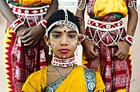Gotipua dancers ( Odisha state, India). Gotipua is a traditional dance performed by young boys who are dressed like women to praise hindu gods Jaganna...