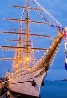 Tall ship, NRP Sagres in Las Palmas port on Gran Canaria during the Rendez-Vous 2017 Tall Ships Regatta. Tall ship NRP Sagres is a training ship of th...