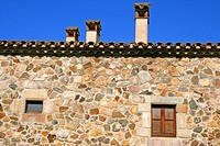 Chimneys of the rural house of Can Vilallonga, Les Gavarres, Catalonia, Spain