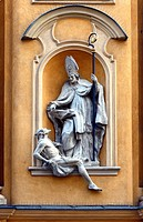 Architectural detail - symbols in arts - Saint Martin helps poor man, St. Martin's Church - Kosciol Sw. Marcina, located on ulica Piwna - Beer Street ...