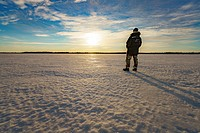 Watching the sunset, Kangos, Lapland, Sweden. Kangos is a locality situated in Pajala Municipality, Norrbotten County, Swedish Lapland.