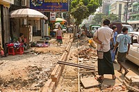 A sidewalk in the middle of being repaired. . Yangon, Myanmar.