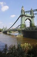 Hammersmith Bridge and River Thames London.
