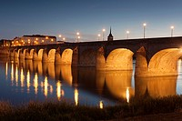 Bridge of Saumur, Pays de la Loire, Maine-et-Loire, France.