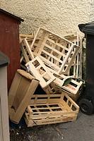 Pile of empty geometric wood and cardboard fruit trays near Coleridge´s cottage, Nether Stowey, Somerset, UK.