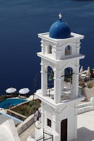 Greece, Cyclades, Santorini, Imerovigli, Anastasi Church, bell tower.