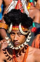 Tribes man at the Hornbill Festival, Kohima, Nagaland, India.