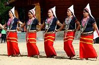 Tribal ritual Dances at the Hornbill Festival, Kohima, Nagaland, India.