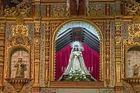 Altar and madonna, Ermita Nuestra Senora de Regla, Pajara,Fuerteventura, Canary Islands, Spain.