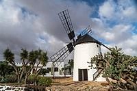 Restored windmill Molina de Antigua, Fuerteventura, Canary Islands, Spain.