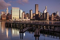 USA, New York, New York City, Long Island City, Mid town Manhattan skyline with UN building, dawn.