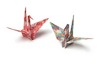Two origami paper crane birds on white background.