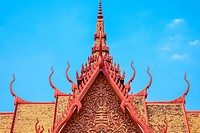 Khmer architecture, roof spires of National Museum of Cambodia, Phnom Penh, Cambodia.