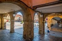 Arcade of Plaza Mayor. Leon, Spain.