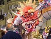 Fallas 2017, Marques de Sotelo street, Valencia, Spain. The Falles is a traditional celebration held in commemoration of Saint Joseph in the city of V...