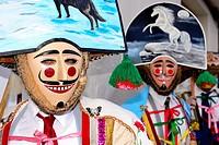 "Peliqueiros of Laza, mask of the Entroido """"carnival"""" in Laza, Orense, Spain"