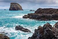 Rocky coastline. Porto da Cruz. Madeira, Portugal, Europe.