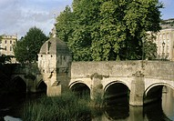 Town Bridge and the Lockup over the River Avon in Bradford Upon Avon in Wiltshire in England in Great Britain in the United Kingdom.