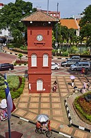 Malaysia, Malacca state, Malacca, Unesco Wold Heritage, City square and the clock tower.