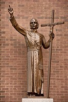 Statue of Gaspar del Bufalo a Roman Catholic priest and founder of the Missionaries of the Precious Blood outside St Roch's church Toronto Canada.