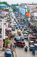 Aerial view of Malvar Road at peak hour, Puerto Princesa, Palawan, Philippines