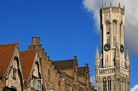 BRUGES : The Belfry and the Cloth Hall. The entire complex still bears witness to the importance of Bruges as a medieval trade center. In the cloth ha...