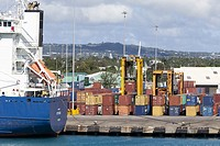 Bridgetown, Barbados. Off-loaded Containers Awaiting onward Shipment.