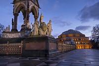 UK, england, London, Albert Memorial Hall dusk.