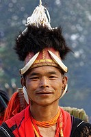 Naga tribal man in traditional outfit, Kisima Nagaland Hornbill festival, Kohima, Nagaland, India.