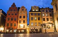 Buildings in Stortorget square. Gamla Stan. Stockholm. Sweden. Scandinavia.
