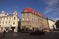 Traditional buildings in the old town, Tallinn, Estonia, Baltic States, Europe.