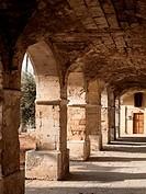 Cloistered Arcade to St. Nicholas Monastery, Spanzia, Chania Old Town, Crete, Greece.