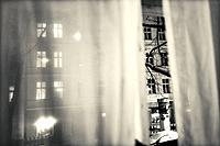 Residential building. View through curtain. Berlin, Germany