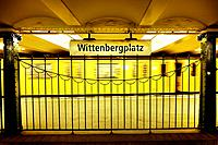 Moving train in Wittenbergplatz subway station. Berlin, Germany